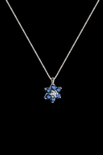 Μενταγιόν Κ18 Ροζέτα Sapphire