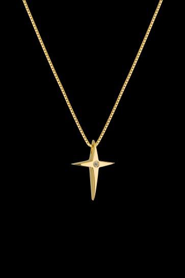 Σταυρός Κ18 Κίτρινος χρυσός Brilliant