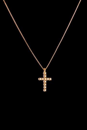 Σταυρός Κ18 Ρόζ χρυσός με 11 Brilliant