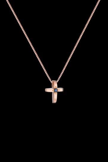 Σταυρός Κ18 με ρόζ χρυσό και μαύρο διαμάντι