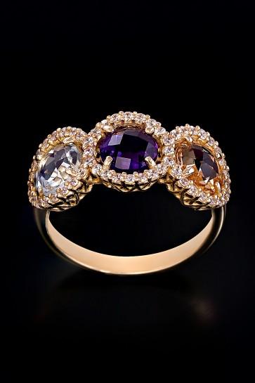 Δαχτυλίδι Κ14 Τρίπετρο