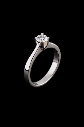Μονόπετρο δαχτυλίδι Κ18 Λευκόχρυσο