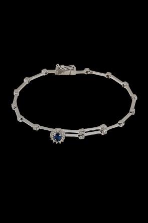 Βραχιόλι Κ18 λευκόχρυσος Ροζέτα Sapphire