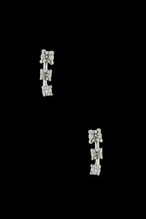 Σκουλαρίκια Κ18 Λευκόχρυσα με τριπλό Brilliant