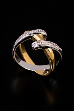 Δαχτυλίδι Κ18 διμεταλλικό με διαμαντια