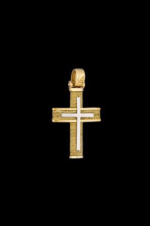 Σταυρός Κ14 Χρυσός με λευκόχρυση επιφάνεια