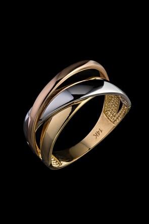 Δαχτυλίδι Κ14 τρίχρωμο