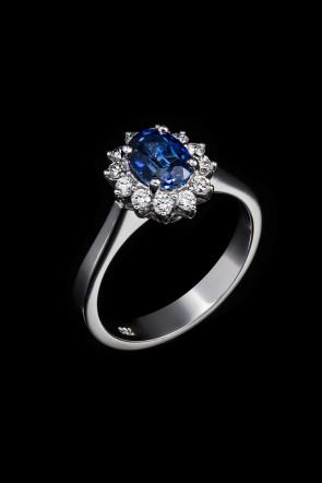 Δαχτυλίδι Κ18 Ροζέτα Ζαφείρι