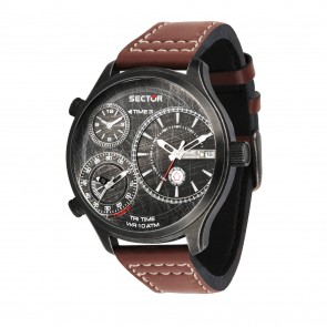 Sector brown leather strap Traveller watch