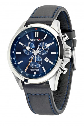 SECTOR 180 Black leather strap Chronograph