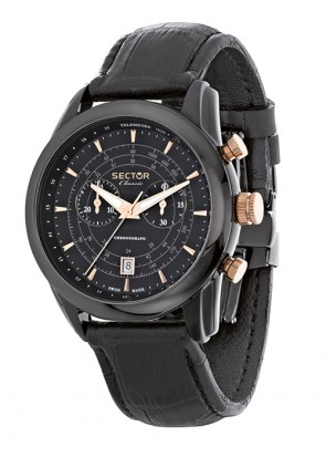 Sector Classic Chronograph Black Leather Strap