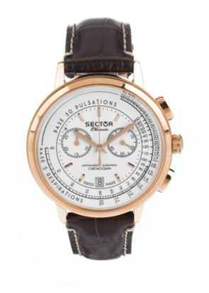 Sector Classic Rose Gold Brown Leather Strap