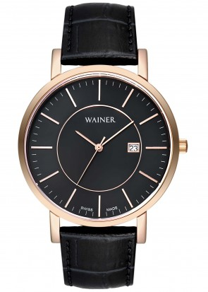 WAINER Bach Black Leather Strap